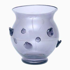 Italian Gray Lilac Blown Murano Glass Vase, 1980s