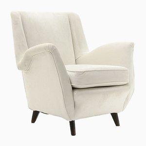 Italian White Velvet Armchair, 1950s