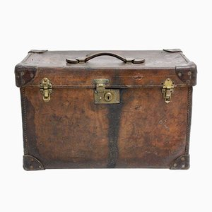 Austrian Brown Leather Suitcase, 1920s