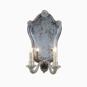 Murano Glass Wall Sconces with Ground Mirror, 1950s, Set of 4