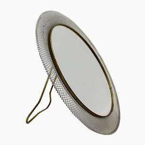 Specchio da tavolo in metallo bianco e ottone di Vereinigte Münchner Werkstätten, anni '50