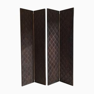 Vintage Art Deco Mahogany Screens in the Style of Jean-Michel Frank, Set of 2