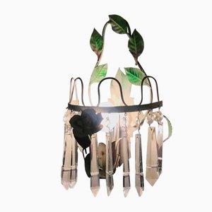 Grün Lackierte Eisen und Kristallglas Wandlampen, 1970er, 2er Set