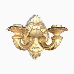 Gold Wall Sconces with 2 Lights, 1800s, Set of 6