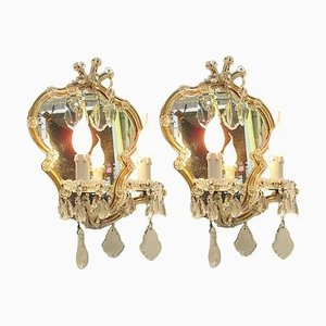 Crystal Maria Teresa Sconces with Mirror, 1950s, Set of 2