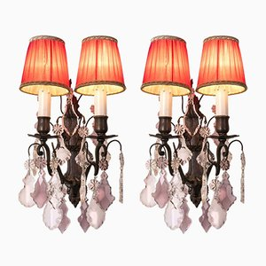 Antique Crystal Amethyst Sconces with 2 Lights, Set of 2