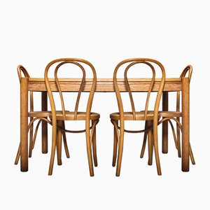 Vintage Dining Table & Chairs Set, Set of 5