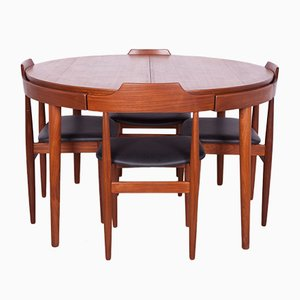 Mid-Century Teak Dining Table & Chairs by Hans Olsen for Frem Røjle, 1960s, Set of 5