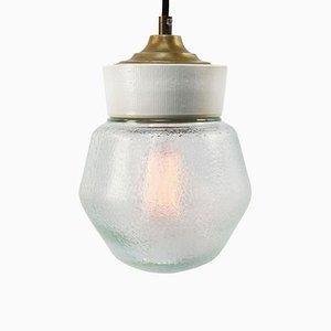 Lampe à Suspension Vintage Industrielle en Porcelaine Blanche, Verre Dépoli et Laiton
