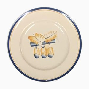 Hand-Painted Ceramic Plate by Gio Ponti for Richard Ginori, San Cristoforo Milan, 1920s