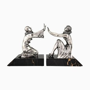 Art Deco French Bronze Pierrot and Female Clown Bookends from Limousin, 1930s, Set of 2