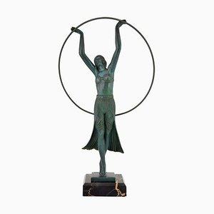 Art Deco French Hoop Dancer Sculpture by C. Charles for Max Le Verrier, 1930s