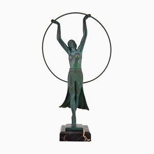 Französische Art Deco Tänzerin Skulptur von C. Charles für Max Le Verrier, 1930er