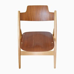 Beech & Teak SE18 Folding Chairs by Egon Eiermann for Wilde+Spieth, 1950s, Set of 4