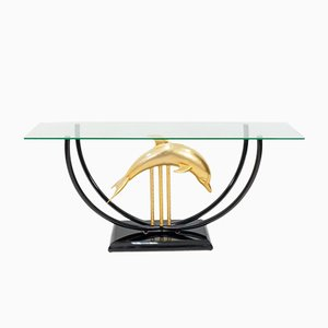 Table Console Hollywood Regency Dolphin, 1970s