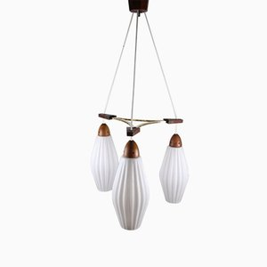 Mid-Century Danish Teak Ceiling Lamp with Ribbed White Opaline Glass Chalices