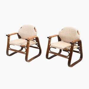 Dänische Mid-Century Stühle aus Bambus, 1960er, 2er Set