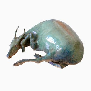German Glazed Pottery Water Buffalo Sculpture by Harro Frey, 1970s