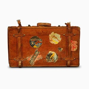 Brown Leather Trunk with Travel Stickers, 1920s