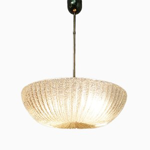 Art Deco Italian Murano Glass and Brass Ceiling Lamp, 1940s