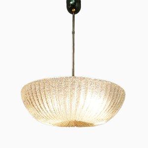 Italienische Art Deco Deckenlampe aus Muranoglas & Messing, 1940er