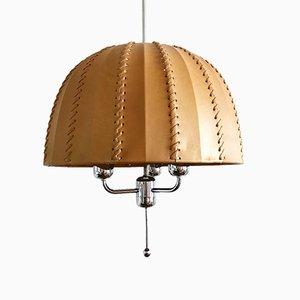 Lampe à Suspension T 549/3 en Cuir & Chrome par Hans-Agne Jakobsson pour Hans-Agne Jakobsson AB Markaryd, Sweden, 1960s