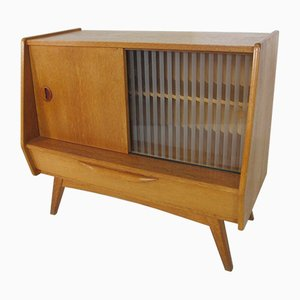 Mid-Century Oak and Glass Credenza, 1950s
