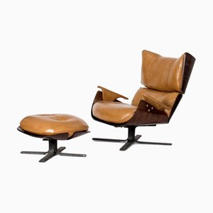 Rosewood Lounge Chair and Ottoman by Jorge Zalszupin, 1960s, Set of 2