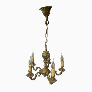 Bronze 6-Arm Chandelier, 1920s