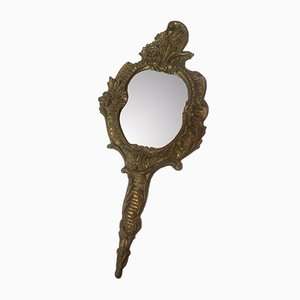 Wooden and Bronze Hand Mirror
