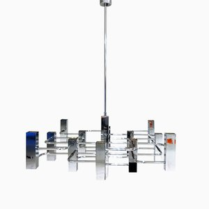 Vintage Chrome 13-Light Chandelier by Gaetano Sciolari, 1970s