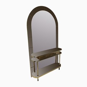 Italian Bicolor Mirror and Console Table Set, 1980s