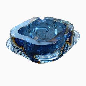 Blaue Murano Glasschale von Seguso, 1960er