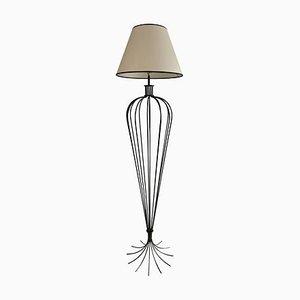 Große Midille Lampe aus Schmiedeeisen Millepattes im Stil von Jean Royère