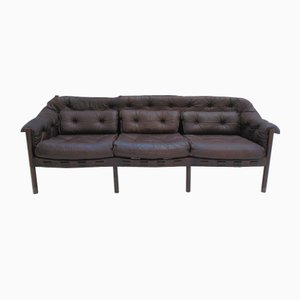 Chocolate Leather Sofa by Arne Norell for Coja, 1950s