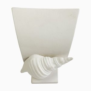 Mid-Century Plaster Wall Light with Seashell Detail