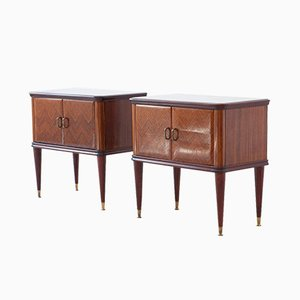 Italian Rosewood Nightstands with Gray Glass Top, 1950s, Set of 2