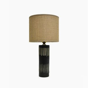 Mid-Century Black Ceramic Table Lamp Attributed to Bitossi