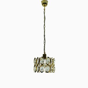 Mid-Century Hollywood Regency Style Crystal Glass and Brass Plated Chandelier from Palwa, 1960s