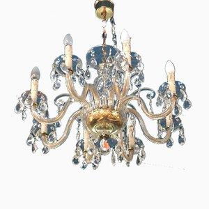 Handgeschnittener 8-Leuchten Kronleuchter aus Kristallglas, 1960er