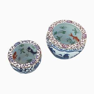 Chinesische Vintage Fischschalen, 1960er, 2er Set