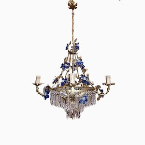 Vintage Crystal Chandelier with Blue Murano Glass Flowers, 1950s
