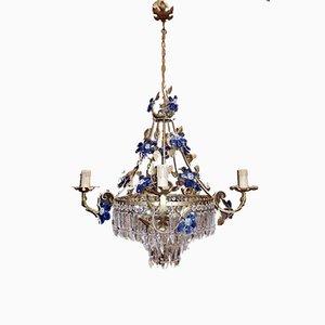 Vintage Kronleuchter aus Kristallglas mit blauen Murano Glasblumen, 1950er