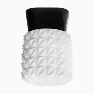 Vintage Industrial Opaline Glass Flush Mount Ceiling Lamp
