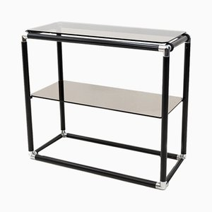 2-Tier Smoked Glass Console Table, 1972