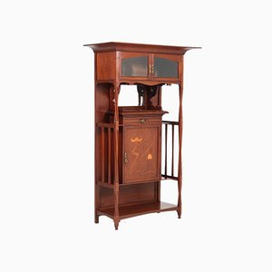 Antique Art Nouveau Arts & Crafts Walnut Cabinet from H.P. Mutters & Zoon, 1900s