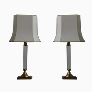 Vintage Lucite and Brass Table Lamps, 1970s, Set of 2