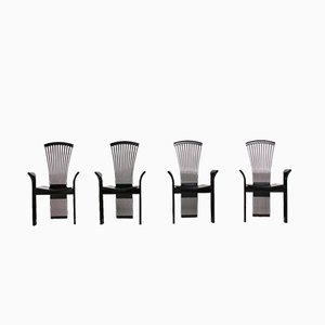 Black Lacquered Wood Chairs by Pietro Costantini, 1980s, Set of 4