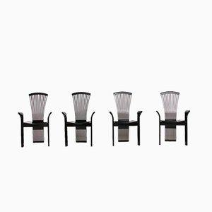 Schwarz lackierte Holzstühle von Pietro Costantini, 1980er, 4er Set