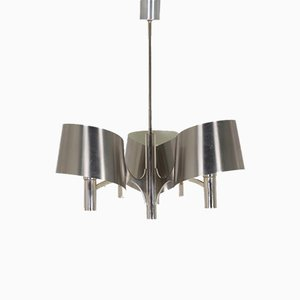 Brushed Steel 3-Light Chandelier, 1970s